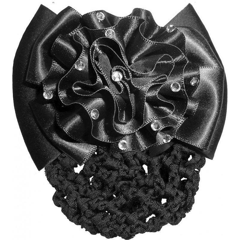 Haarnetz mit Blumenschleife schwarz