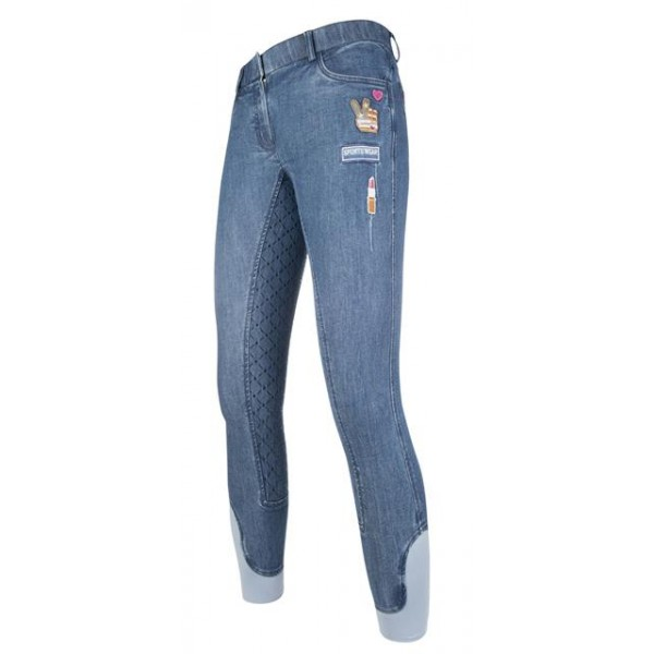HKM Kids Reithose Patches Denim
