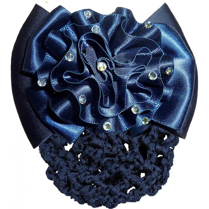 Haarnetz mit Blumenschleife marineblau