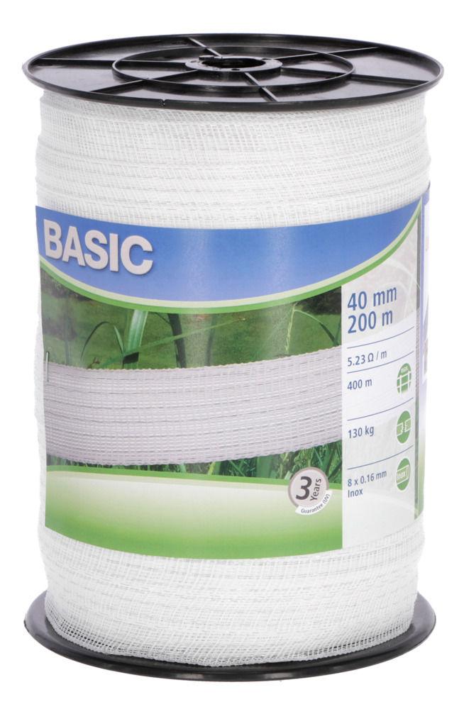 Basic Classe-Weideband, 200m 40mm, weiß 8x 016 Niro