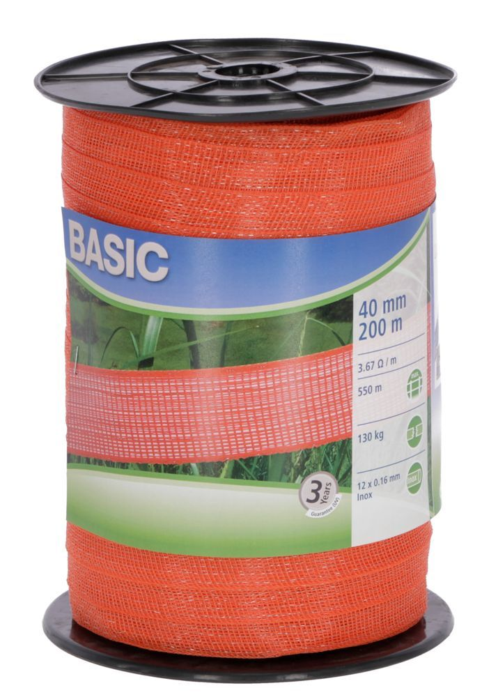 Basic Classe-Weideband, 200m 40mm, orange, 12x 0,16 Niro