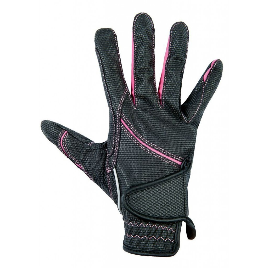Reithandschuh HKM Fashion schwarz/pink